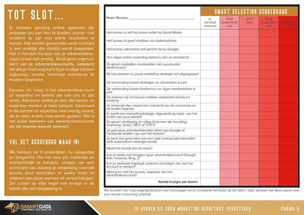 digital marketing agency - smart selection sheet