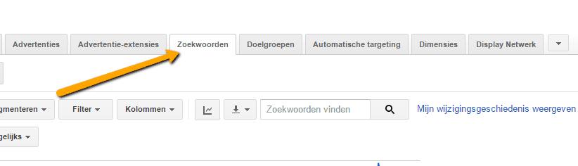 AdWords tab zoekwoorden