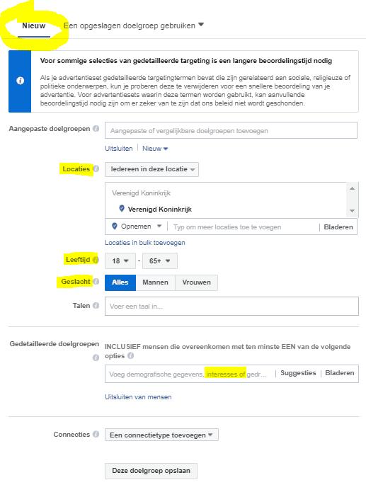 Facebook advertentie doelgroep kiezen