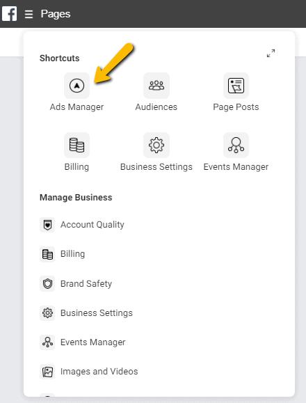 Facebook Businessmanager menu advertentiebeheer