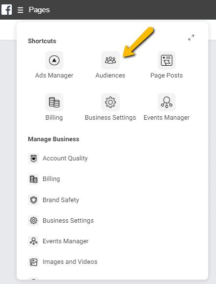 Facebook Businessmanager menu doelgroepen