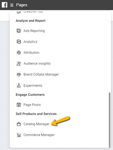 Facebook Businessmanager menu catalogi