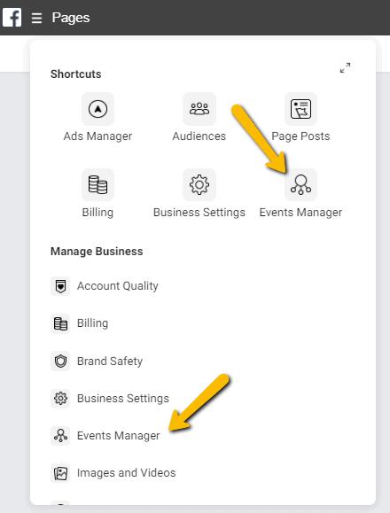 Facebook Businessmanager menu gebeurtenisbeheer