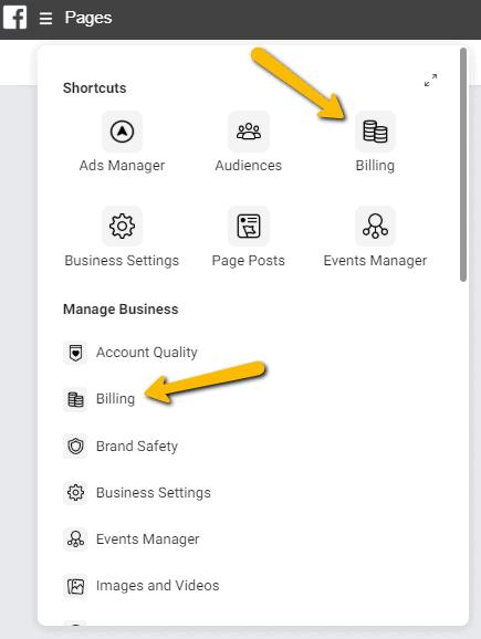 Facebook Businessmanager menu facturen
