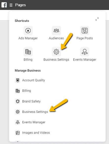 Facebook Business Manager menu - business instellingen