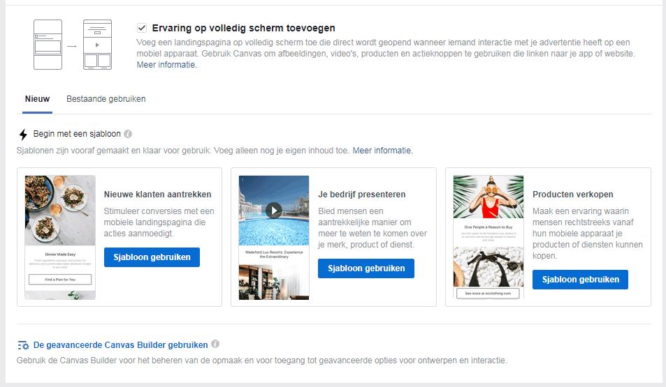 Facebook advertentie ervaring op het volledige scherm
