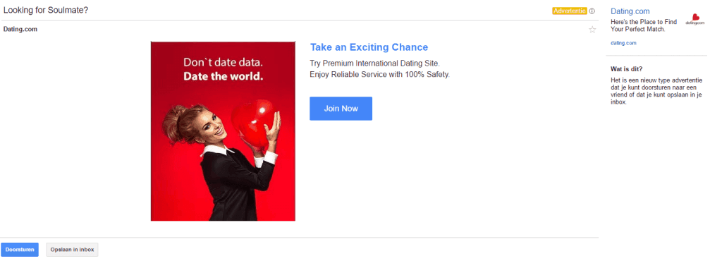 Gmail Sponsored Promotion AdWords open