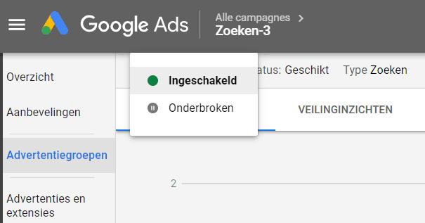 Google Ads campagne pauzeren