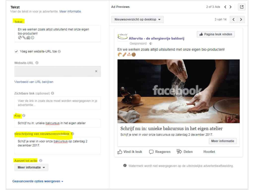 Facebook advertentie tekst