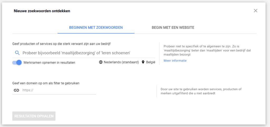 Nieuwe zoekwoorden ontdekken - Google Ads zoekwoordplanner