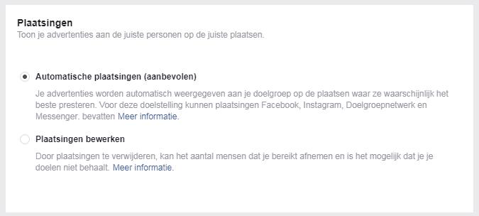Facebook advertentie plaatsingen