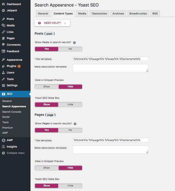 WordPress XML sitemap met Yoast SEO - search appearance