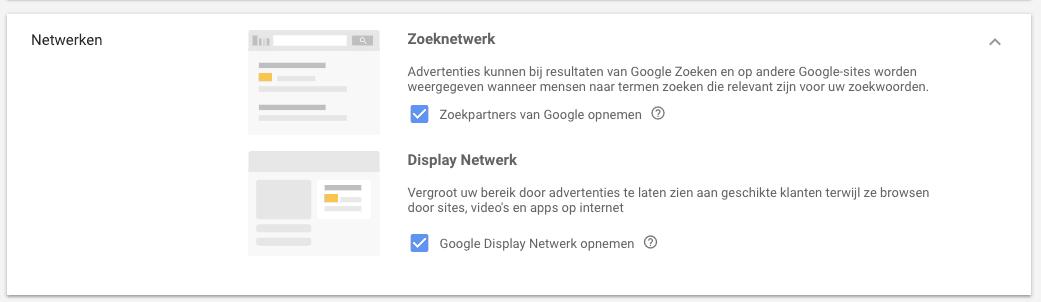 Zoeknetwerk en display netwerk