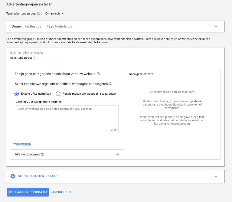 Dynamische zoekadvertenties instellen