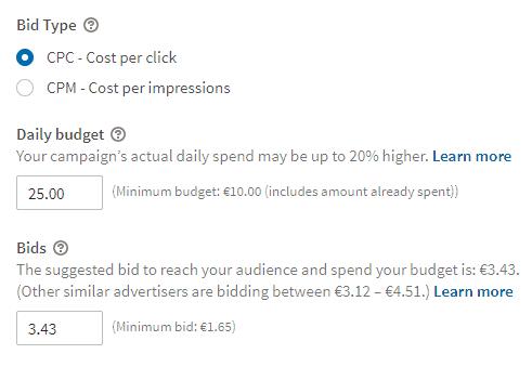 Adverteren op Linkedin kosten