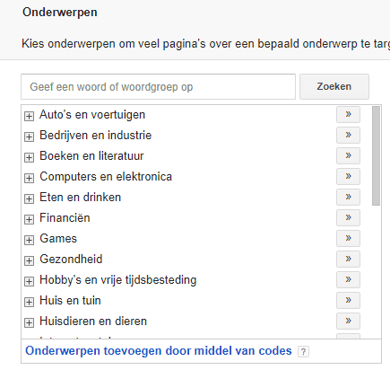 Adwords display advertising onderwerpen