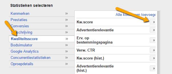 AdWords kwaliteitsscore kolom toevoegen