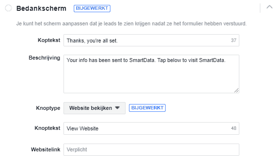 Facebook lead ads bedankscherm