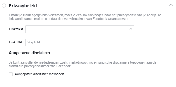 Facebook lead ads privacy