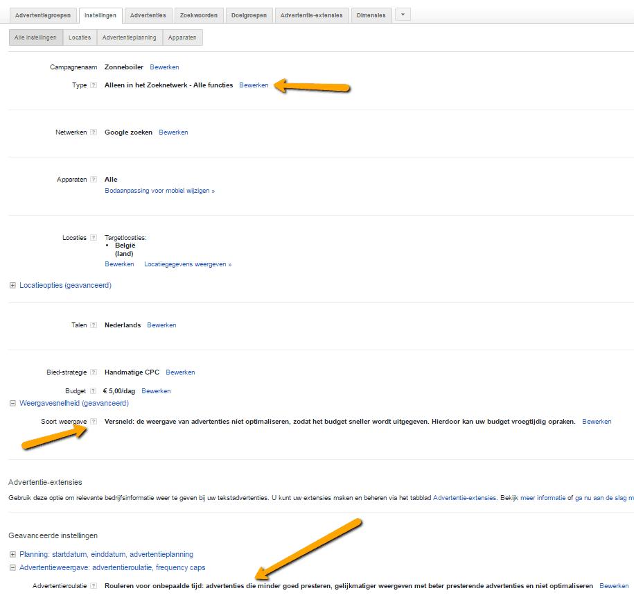Google AdWords handleiding zoeken instellingen