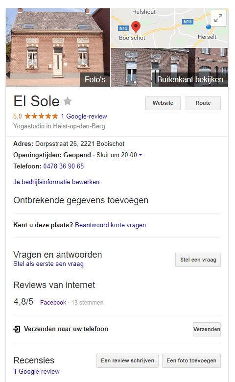 Google mijn bedrijf resultaat