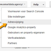google search console adreswijziging