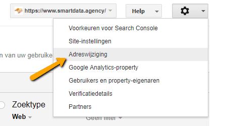google search console adreswijziging