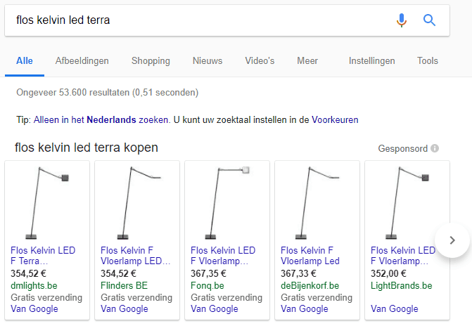 Google Shopping zoekresultaten