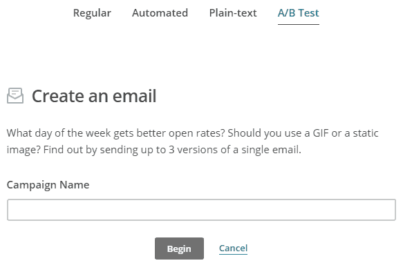Mailchimp create email a/b test