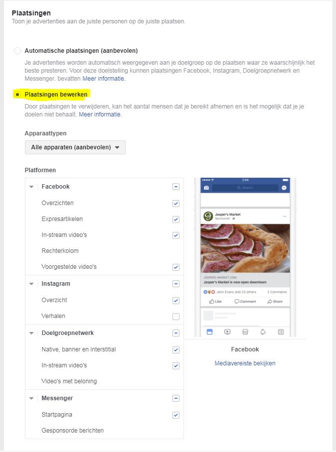 facebook plaatsingen bewerken