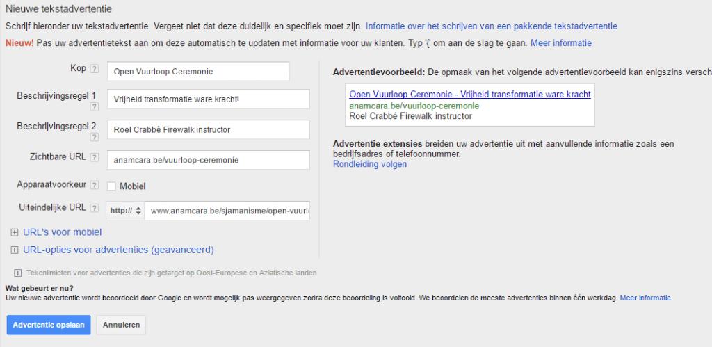 Remarketing advertentie toevoegen tekstadvertentie nieuw