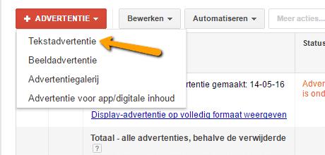 Remarketing advertentie toevoegen tekstadvertentie