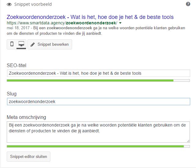 Snippet voorbeeld SEO titel slug meta- mschrijving