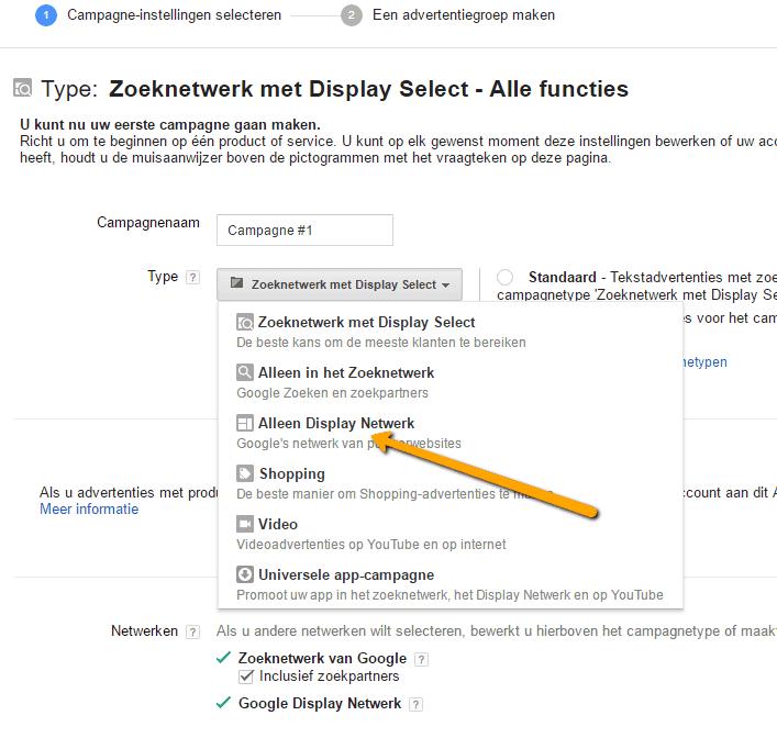 Type alleen in het zoeknetwerk remarketing