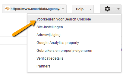 Voorkeuren voor Search Console