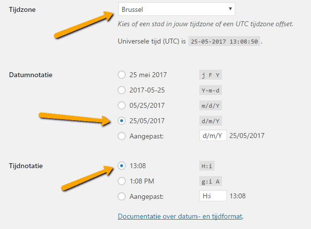WordPress instellingen algemeen tijd datum